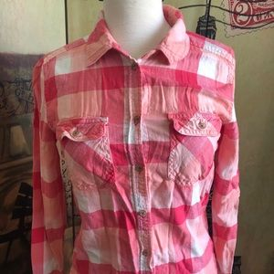 American Eagle Size XS Pink Plaid Shirt